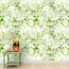 Leaves on Floral wallpaper brings a breath of fresh air into a any room with it's bright and calm features.  Leaves on Floral wallpaper features fresh green leaves on a bed of tonal white flowers on to a textured background. This wallpaper is part of the All Things British Range.