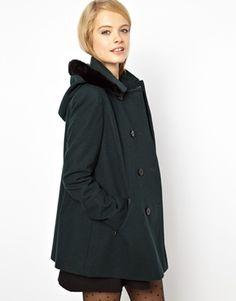 Image 1 ofASOS Hooded A-Line Duffle Coat With Fur Trim Hood