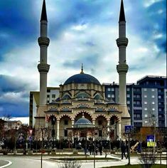 Mosque in Mitrovica, Kosovo. It is a symbol because they re-made the old one and a lot of people come together at this place