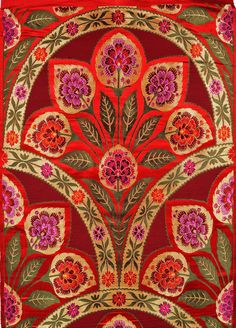~ Cordovan and Red Brocade Fabric from Banaras with Woven Flowers and Zari Weave by Hand - Pure Silk Handloom Brocade, Weaver Kasim Family of Banaras