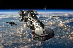 Tantive IV Blockade Runner with fighter escort.   Tags: Star Wars, Geek, 3D Art, wallpaper, #starwars, #geek, #wallpaper