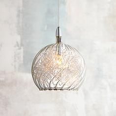 The innovative use of swirl wire glass lends this Possini Euro Design mini pendant light plenty of visual appeal. Comes with of wire. Style # at Lamps Plus. Mini Pendant Lights, Glass Pendant Light, Pendant Chandelier, Glass Pendants, Chandelier Lighting, Chandeliers, Kitchen Lighting Fixtures, Kitchen Pendant Lighting, Kitchen Pendants
