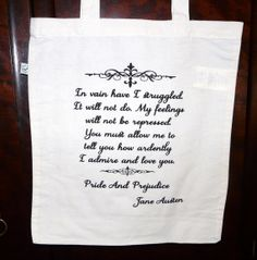 Mr Darcy's Proposal Tote Bag  Pride & Prejudice by missbohemia, £9.00