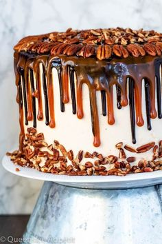 This Turtle Chocolate Layer Cake starts with rich, decadent and moist chocolate cake layers that are filled with a caramel pecan sauce and covered in a smooth caramel frosting, then finished off with a caramel and ganache drip and chopped pecans! Chocolate Turtles, Chocolate Cake, Decadent Chocolate, Chocolate Pudding, Layer Cake Recipes, Dessert Recipes, Mississippi Mud Pie, Dessert Simple, Caramel Pecan