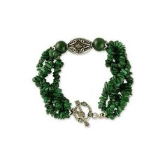 NOVICA Malachite torsade bracelet ($55) ❤ liked on Polyvore featuring jewelry, bracelets, malachite, torsade, green bracelet, novica, twisted bracelet, novica jewelry and beaded jewelry