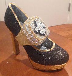Confessions of a glitter addict: Work in Progress - Saints Super Bowl Ring Shoe