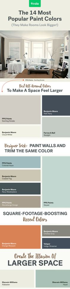Paint Colors That Make a Small Space Feel So Much Bigger These expert-approved paint colors may be the secret to making your small room feel bigger.These expert-approved paint colors may be the secret to making your small room feel bigger. Home Remodeling, Home Renovation, Most Popular Paint Colors, Popular Kitchen Colors, Kitchen Color Trends, Interior Paint Colors, Paint Colours, Small Bedroom Paint Colors, Interior Painting
