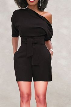 bc75d357836 Off Shoulder Belted Romper – outyfit Black Clothes