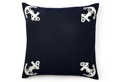 Harbor Anchor 25x25 Pillow, Navy on OneKingsLane.com