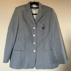 Navy motives fab Jacket by BASLER  size 14 Clothes of this designer you can find in stores like Barnes NY ,Neiman Marcus and etc...High quality,white and Navy blue stripes BASLER Jackets & Coats