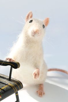 Needle Felted Rat Pet Rat Rat Felt Sculpture by YvonnesWorkshop, $155.00