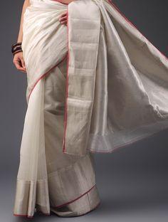 White-Red Chanderi Cotton Silk Zari Saree - Buy Sarees > Woven Sarees > White-Red Chanderi Cotton Silk Zari Saree Online at Jaypore.com