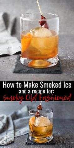 Learn how to make smoked ice to add a nice smoky flavor to your favorite cocktails. We also include a recipe for a Smoky Old Fashioned! Smoked Cocktails, Bourbon Cocktails, Whiskey Drinks, Cocktail Recipes, Bourbon Mixed Drinks, Manly Cocktails, Cocktail Videos, Old Fashioned Drink, Old Fashioned Recipes