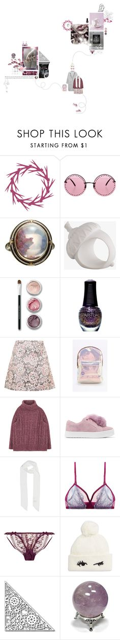 """""""pink snow will keep falling, pink snow will keep falling"""" by distantfirewaves ❤ liked on Polyvore featuring WALL, Brian Atwood, Alexis Bittar, Acorn, Bare Escentuals, SpaRitual, Ganni, Topshop, Mi-Pac and Sam Edelman"""