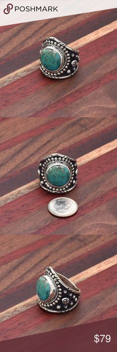 """Large tribal 925 Turquoise Ring Stamped """"925MEX"""". Size 11. Band width from wides point: 27mm.  Sterling silver is an alloy of silver containing 92.5% by mass of silver and 7.5% by mass of other mThe sterling silver standard has a minimum millesimal fineness of 925.   All my jewelry is solid sterling silver. I do not plate.   Hand crafted in Taxco, Mexico.  Will ship within 2 days Jewelry Rings"""