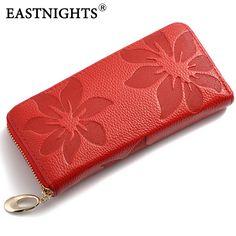 EASTNIGHTS 2017 New Designer Genuine Leather women's wallet Flower Pattern Ladies Purse Name Brand Clutch Bag WL039
