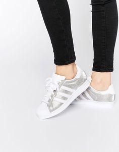 reputable site 8d0f3 07cb8 adidas Originals Silver Metallic Superstar Sneakers