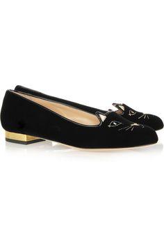 Cute Shoe Alert! Charlotte Olympia|Kitty embroidered velvet slippers|NET-A-PORTER.COM