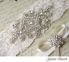 Wedding Garter Set Bridal Garter Light Ivory Stretch Lace Keepsake and Toss garters, Rhinestone and Crystal garters. $44.99 with shipping