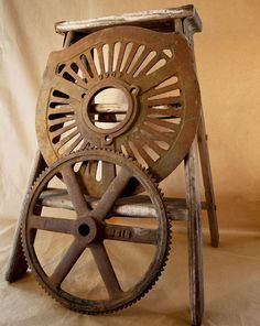 Rustic Gear or Grate Cover, Solid Cast Iron Industrial Object, Salvage Steampunk Decor