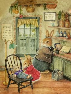 """The Future Doctor,"" charming illustration by Susan Wheeler. Susan Wheeler, Beatrix Potter, Art And Illustration, Lapin Art, Art Fantaisiste, Motifs Animal, Dibujos Cute, Rabbit Art, Bunny Art"