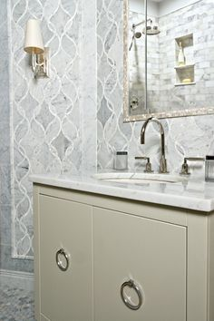 Welcome to Artistic Tile. Pretty tile, really UGLY vanity.eww, just ewww. And the tile mirror frame is eww too. So, just the tile here please! Bathroom Colors, Bathroom Sets, Master Bathroom, Marble Mosaic, Mosaic Tiles, Carrara Marble, Hex Tile, Bad Inspiration, Bathroom Inspiration