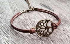Tree of Life bracelets#leather bracelet#hipsters jewelry#brown#tree#personalized#simple fashion#charm jewelry#friends gift#blessing bracelet#