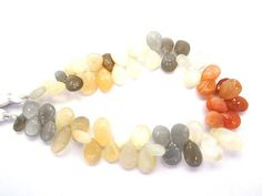 "10 13 Mm Natural Gemstone Multi Moonstone Pears Shape Beads 8"" Strand"