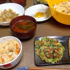 今日の晩御飯です^ ^ - 5件のもぐもぐ - 混ぜご飯、小松菜の味噌汁、大根もち、エリンギとほたてのにんにく醤油バター炒め by otochiii