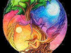 Ying Yang, the tree of life. Yin Yang Tattoos, Tatuajes Yin Yang, Yen Yang, Ying Y Yang, Yin Yang Art, Psy Art, Art Plastique, Cool Tattoos, Cool Art