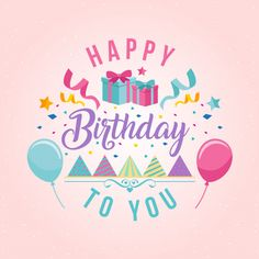 Surprise Theme Happy Birthday Card Illustration  Free Vector