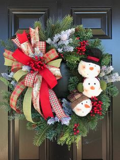 SNOWMAN WREATH for Front Door, Christmas Wreath, Holiday Decor, Holiday Wreath, Christmas Decor, Win