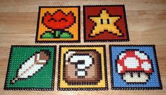 Mario coasters made from Perler beads