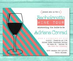 Wine Tour Party Invitation - Custom Colors - Print Yourself - Save money