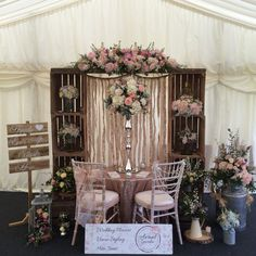 Our latest wedding fayre stand for the pop up wedding village, rustic crate arch and ribbon back drop, rose gold sequin table cloth and lots and lots of my favourite flowers
