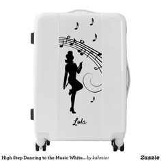 High Step Dancing to the Music White Personal Luggage