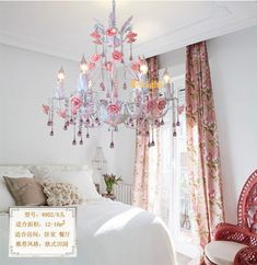 6Lamps crystal chandeliers bedroom lamp Rose flower personalized iron ceramic crystal chandelier lamp Pink /green Pure white-in Pendant Lights from Lights & Lighting on Aliexpress.com | Alibaba Group