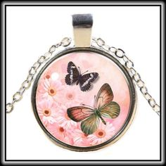 GLASS CABOCHON BUTTERFLY NECKLACE ✨Beautiful cabochon necklace featuring blue and orange/green hued  butterflies✨                                                                                                                                                          💞 Jewelry Necklaces