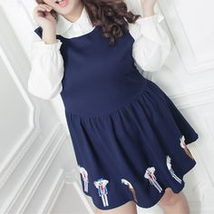 [XL-4XL] Navy Plus Size Dolly Dress SP154129