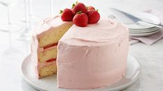The star of this beautiful cake is the fresh strawberry buttercream frosting that's bursting with summer flavor. As impressive as it looks, this cake is made easy with Betty Crocker™ SuperMoist™ white cake mix.