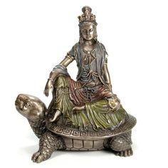 "6 "" Watermoon Quan Yin Kwan Yin on Tortoise Statue Turtle Journey Eastern Deity"