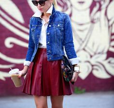 Leather & Denim for Fall Fall Winter Outfits, Spring Outfits, Red Leather Skirt, Brooklyn Blonde, Classic White Shirt, Oxblood, Leather Fashion, Women's Fashion, My Style