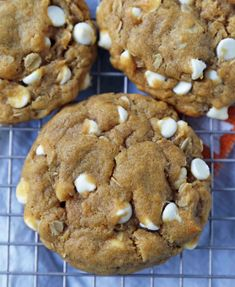 Chewy Pumpkin White Chocolate Chip Cookies. The perfect pumpkin oatmeal cookies with white chocolate chips. Soft and chewy pumpkin cookie recipe.
