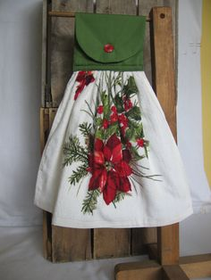 Poinsetta Kitchen Towel Christmas Hanging by SnowNoseCrafts, $5.00