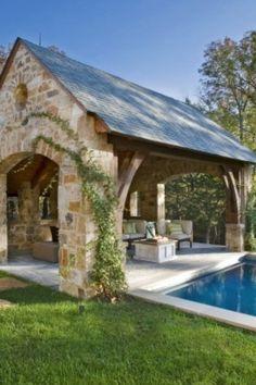 Love this stone and tin cabana.