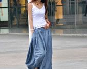 Lagenlook Maxi Skirt Big Pockets Big Sweep Long Skirt in Army Green Summer Linen Skirt - NC334. $59.99, via Etsy.