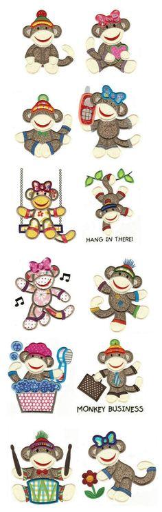 Sock Monkeys Applique TOO design set available for instant download at www.designsbyjuju.com