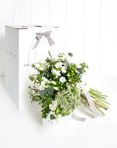 Gift Box Posy - Whites & Greens