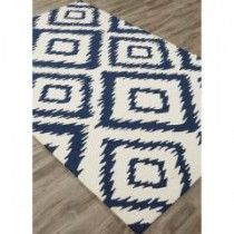 Indoor/Outdoor Tribal Pattern Ivory/Blue Polyester Area Rug (2x3)