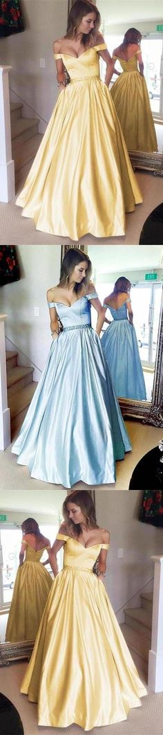 Off The Shoulder Yellow Long Zipper Back Beautiful Prom Dresses, This dress could be custom made, there are no extra cost to do custom size and color Affordable Prom Dresses, Beautiful Prom Dresses, Custom Made, Off The Shoulder, Tulle, Zipper, Yellow, Skirts, Color
